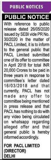 PACL Public Notice